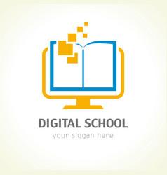 Digital school book logo vector