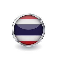 Flag of thailand button with metal frame and vector