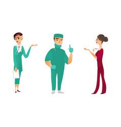 flat doctor nurse surgeon characters set vector image