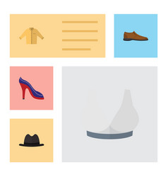 flat icon clothes set of heeled shoe panama vector image