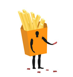 French fries costume man mascot promoter male in vector