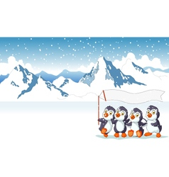 funny penguins holding flag with snow mountain vector image