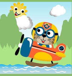 Funny pilot cartoon on water plane vector