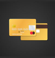gold bank card mockup vector image