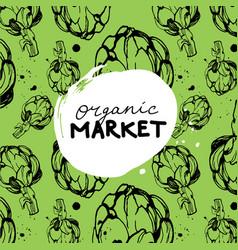 green organic market banner vector image