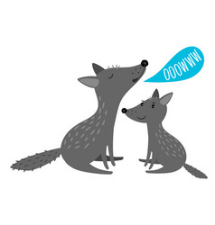 Grey wolves with ooowww speach bubble vector