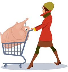Grocery shopping for holidays vector image vector image