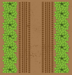 ground bushes tire tracks vector image