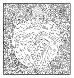 hand drawn monkey against floral pattern vector image