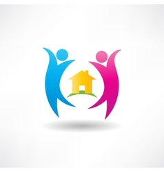 Happiness in house icon vector