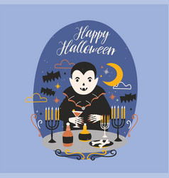 Happy halloween banner with funny smiling dracula vector
