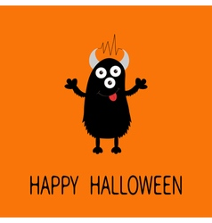 Happy Halloween card Black silhouette monster with vector