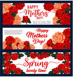 Happy mother day banner with rose flower frame vector