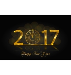 Happy New Year 2017 with gold vector image
