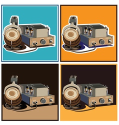 headphones and amplifier set vector image
