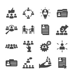 human resources management icons collection vector image