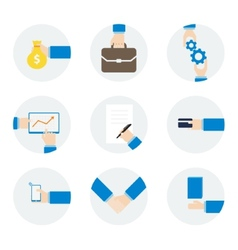 Icons hand businessman with different objects vector