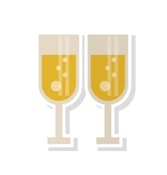 Isolated couple of cups of champagne design vector