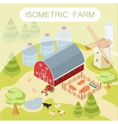 Isometric farm banner vector