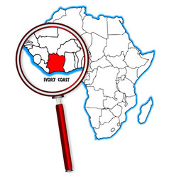 Ivory coast under a magnifying glass vector