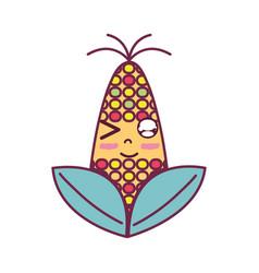 Kawaii cute funny corn food vector