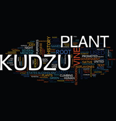 Kudzu text background word cloud concept vector