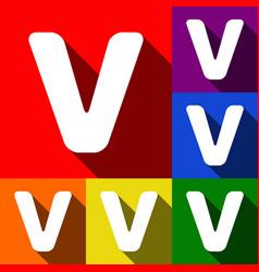 letter v sign design template element set vector image