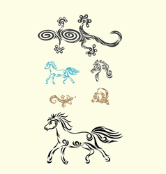 lizard and horse vector image