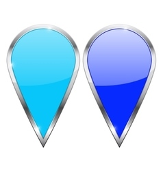 Location pin Blue and turquoise icons with chrome vector image