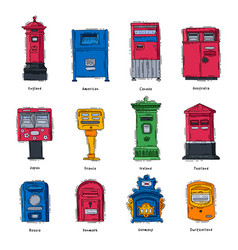 Mail box post mailbox or postal letterbox vector