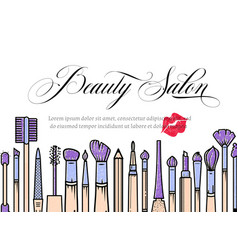 Makeup artist banner beauty salon background vector