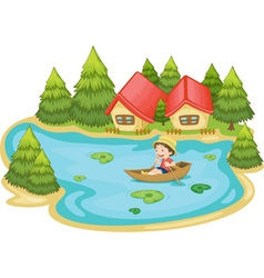 Man in boat vector image