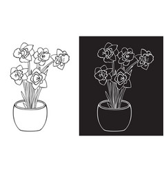Narcissus flower in pot vector