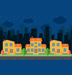 Night city with cartoon houses and buildings vector