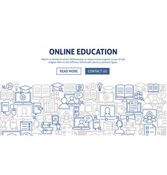 online education banner design vector image