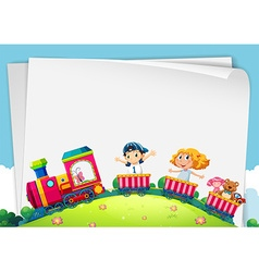 Paper design with children on train vector