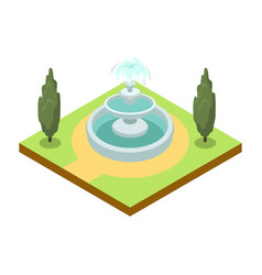Park alley with fountain isometric 3d icon vector