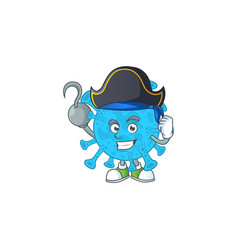 pirate coronavirus backteria with one hook hand vector image