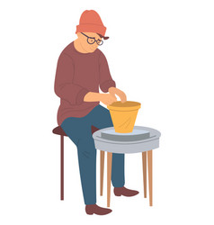 Pottery hobby hipster man making pots from clay vector