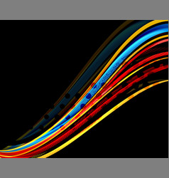 rainbow color wavy lines on black background vector image