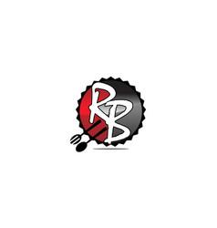 restaurant fork spoon letter r b vector image
