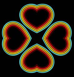 Retro hearts lines background vector