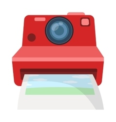 Retro photocamera icon in cartoon style isolated vector image