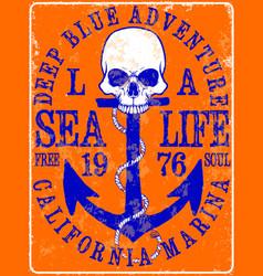 sailor skull t shirt graphic design vector image