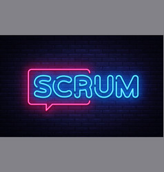 Scrum neon text scrum process neon sign vector