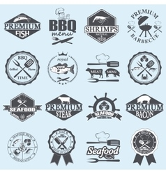 seafood labels and butcher shop vector image