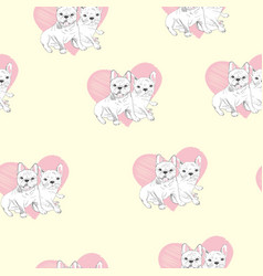 seamless pattern with cute cartoon dog puppies vector image