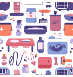 seamless pattern with pet shop or store products vector image