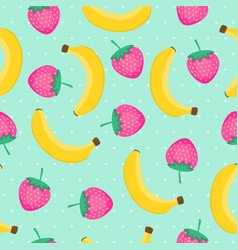 seamless pattern with yellow bananas and pink vector image