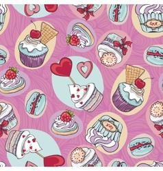 Seamless sweet cupcake party background pattern vector